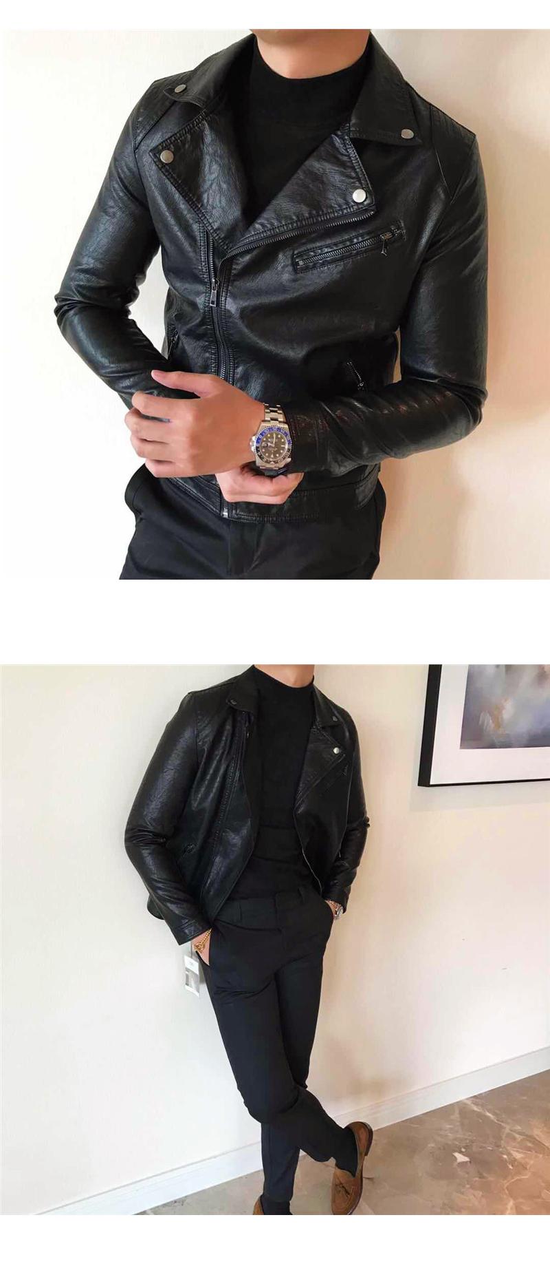 South Korea Korean version handsome collar leather jacket men's retro personality PU leather clothing fashion 100 locomotive leather fashion tide 61 Online shopping Bangladesh