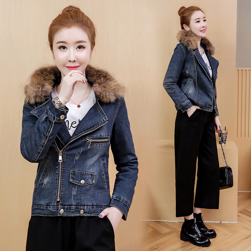 a1404be9dab7 Real Shot Denim Jacket Female 2018 Korean Style Wild Early Winter ...
