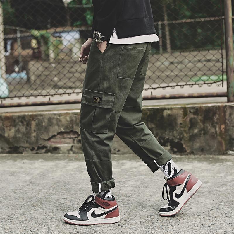 日系宽松男士束脚裤工装裤大码九分裤休闲裤男小脚长裤子7727P50