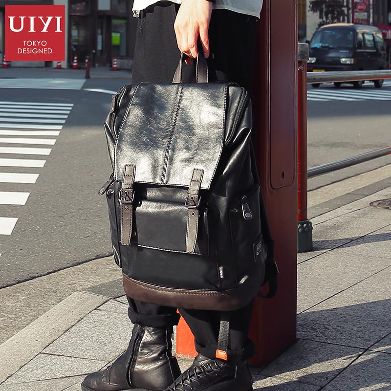 佑一良品日本时尚潮流男士双肩包男韩版休闲旅行背包学生皮质书包
