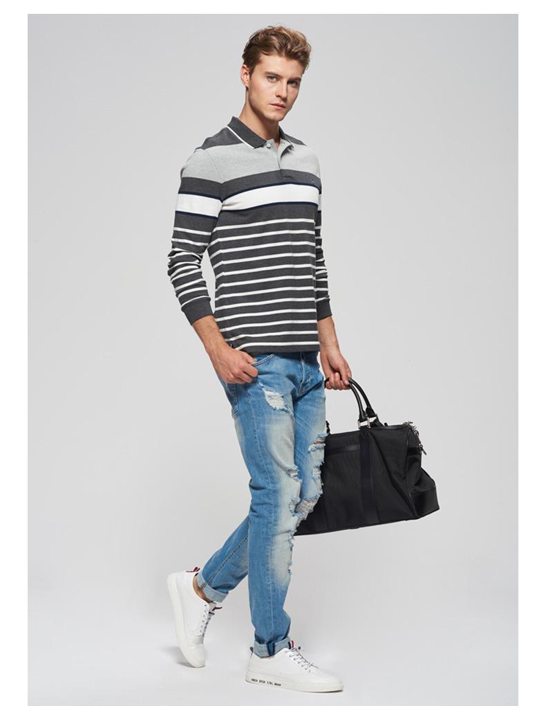 SCOFIELD mùa xuân và mùa thu của nam giới kinh doanh bình thường bông sọc dài tay đan T-Shirt HA738001 áo phông rộng nam