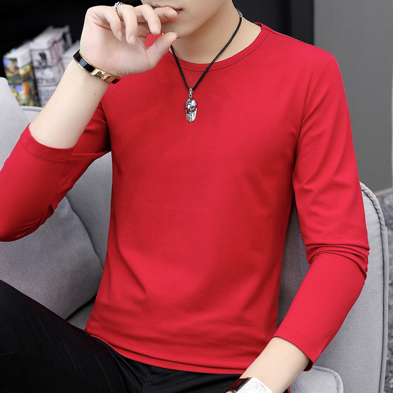 Red t-shirt men's men's clothing red 2020 new red bottomshirt with autumn clothes long-sleeved t-shirt