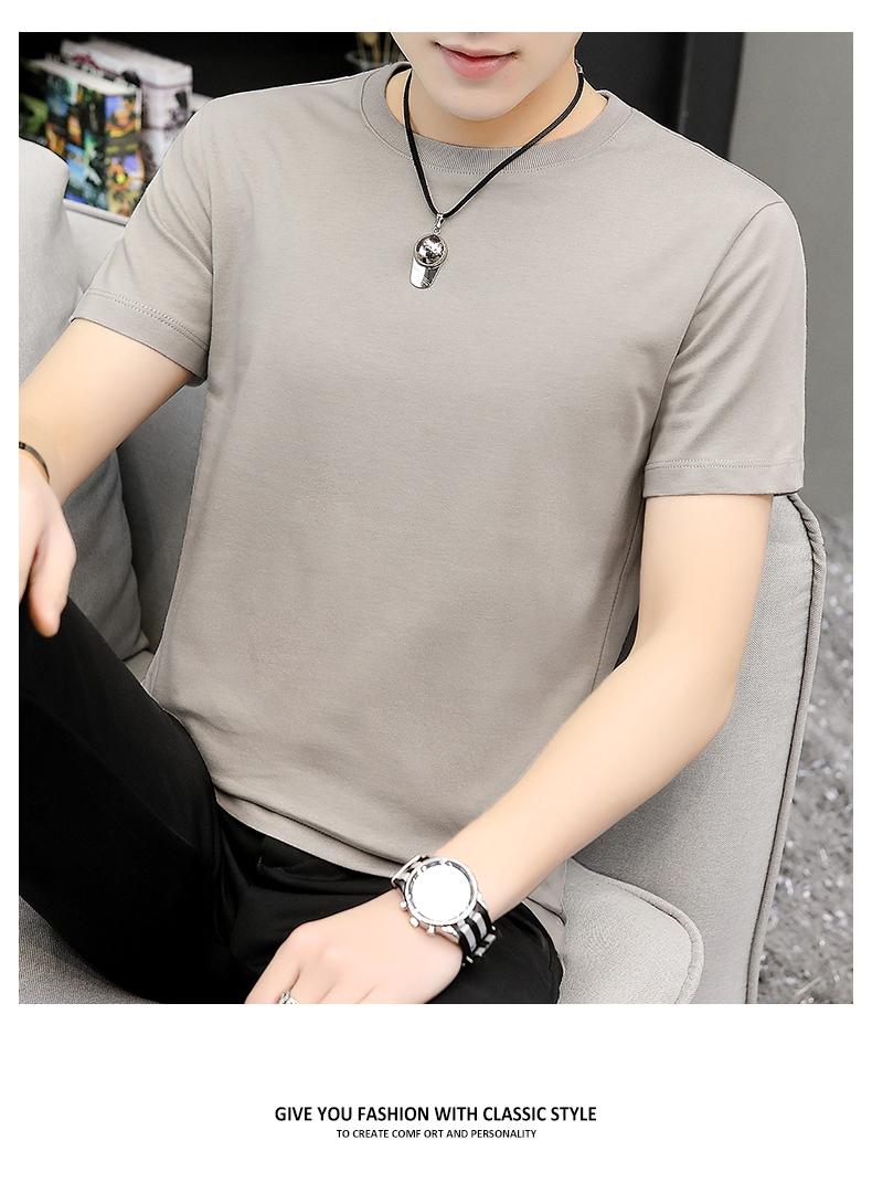 纯棉短袖恤男圆领纯色纯白色夏季全棉上衣服宽鬆潮牌潮流半袖详细照片