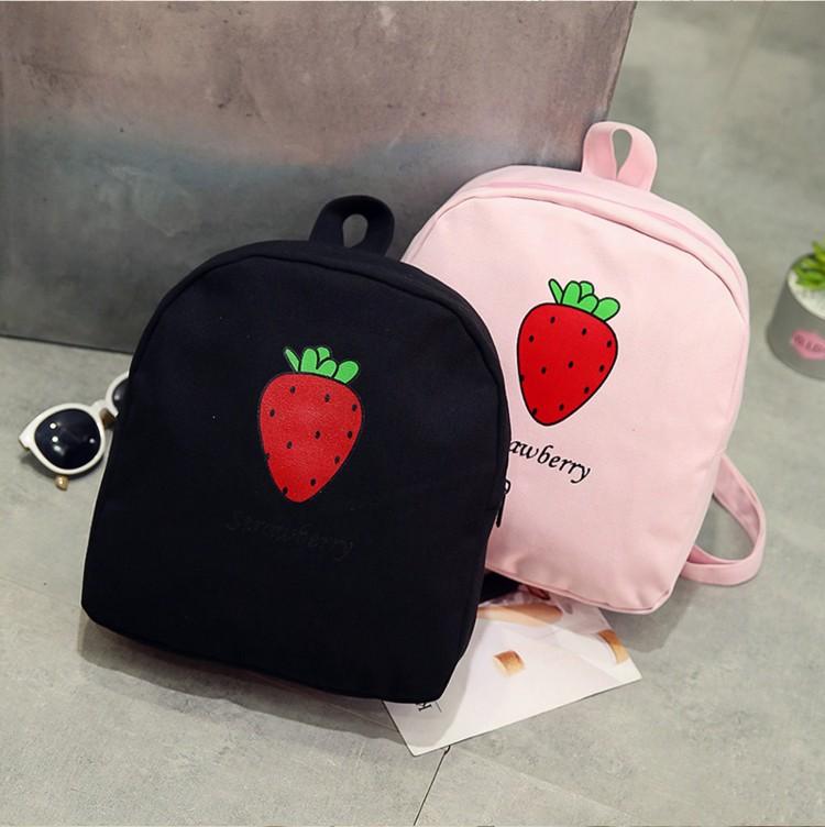 粉色小书包女学生韩版原宿风日系复古草莓双肩包学院风少女心背包
