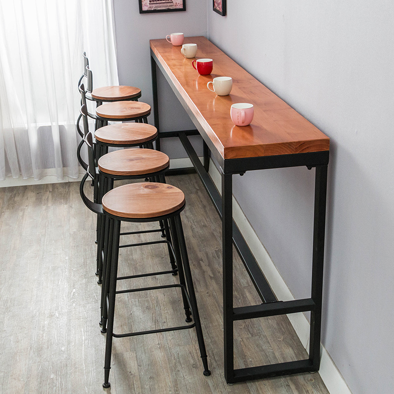 solid wood bar table tall table bar table retro cafe wall. Black Bedroom Furniture Sets. Home Design Ideas