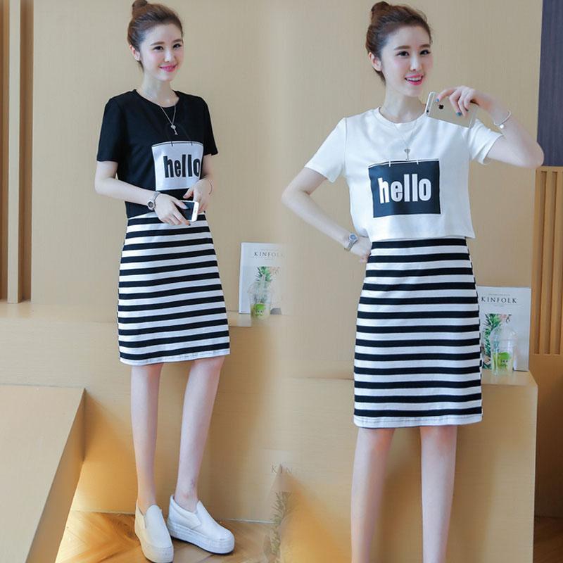 2019新款韩版时尚学生套装裙子女夏季短袖韩版小清新连衣裙两件套