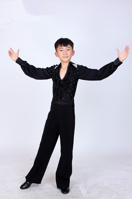 Boys latin dance shirt Children Latin dance competition performance clothes boys Latin dance costumes men Latin performance clothes