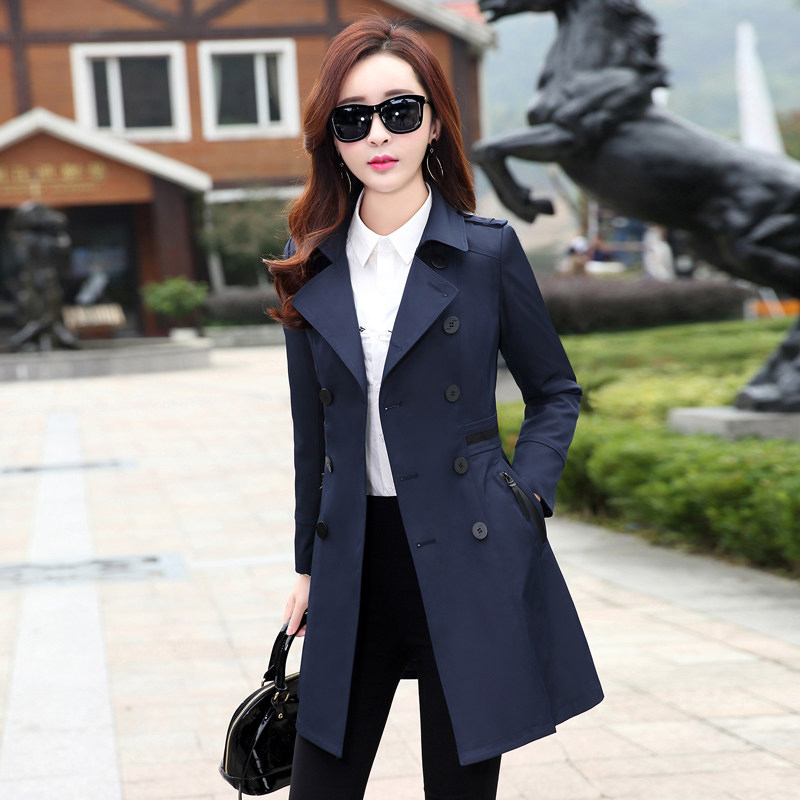 中长款风衣女装2020秋装新款外套显瘦矮个子修身春秋季韩版收腰小