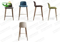 Nordic solid wood bar chairs European-style high-foot cafe bar chairs