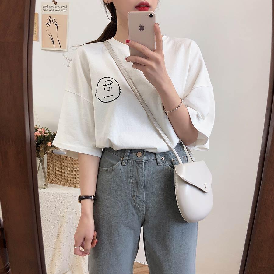 鬼马系少女~ins可爱宽松款印花T恤