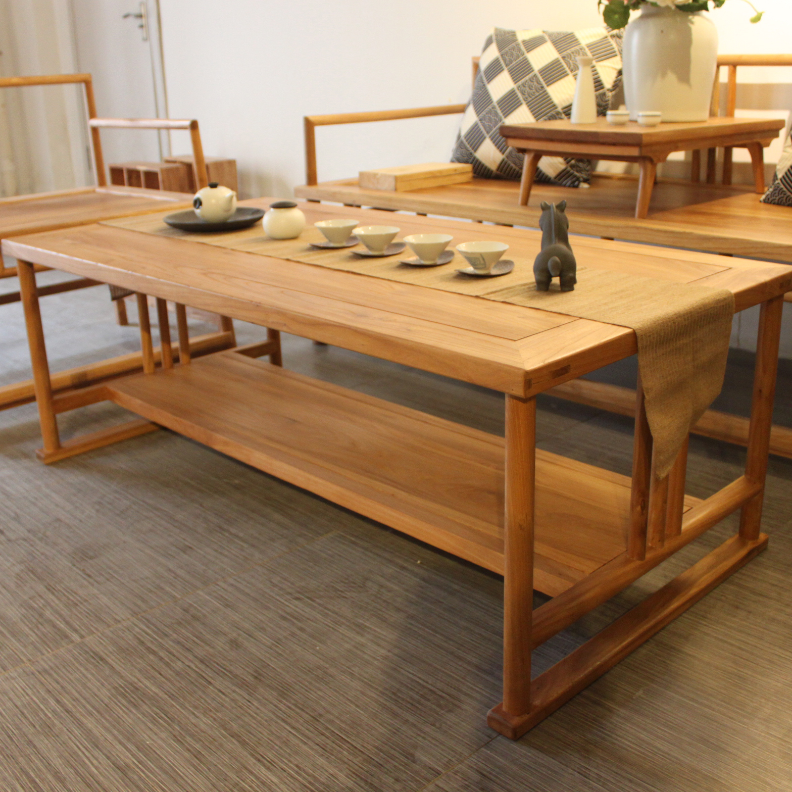 Nine Rooms Old Elm Zen Tea Room New Chinese Coffee Table Free Paint Simple  Solid Wood