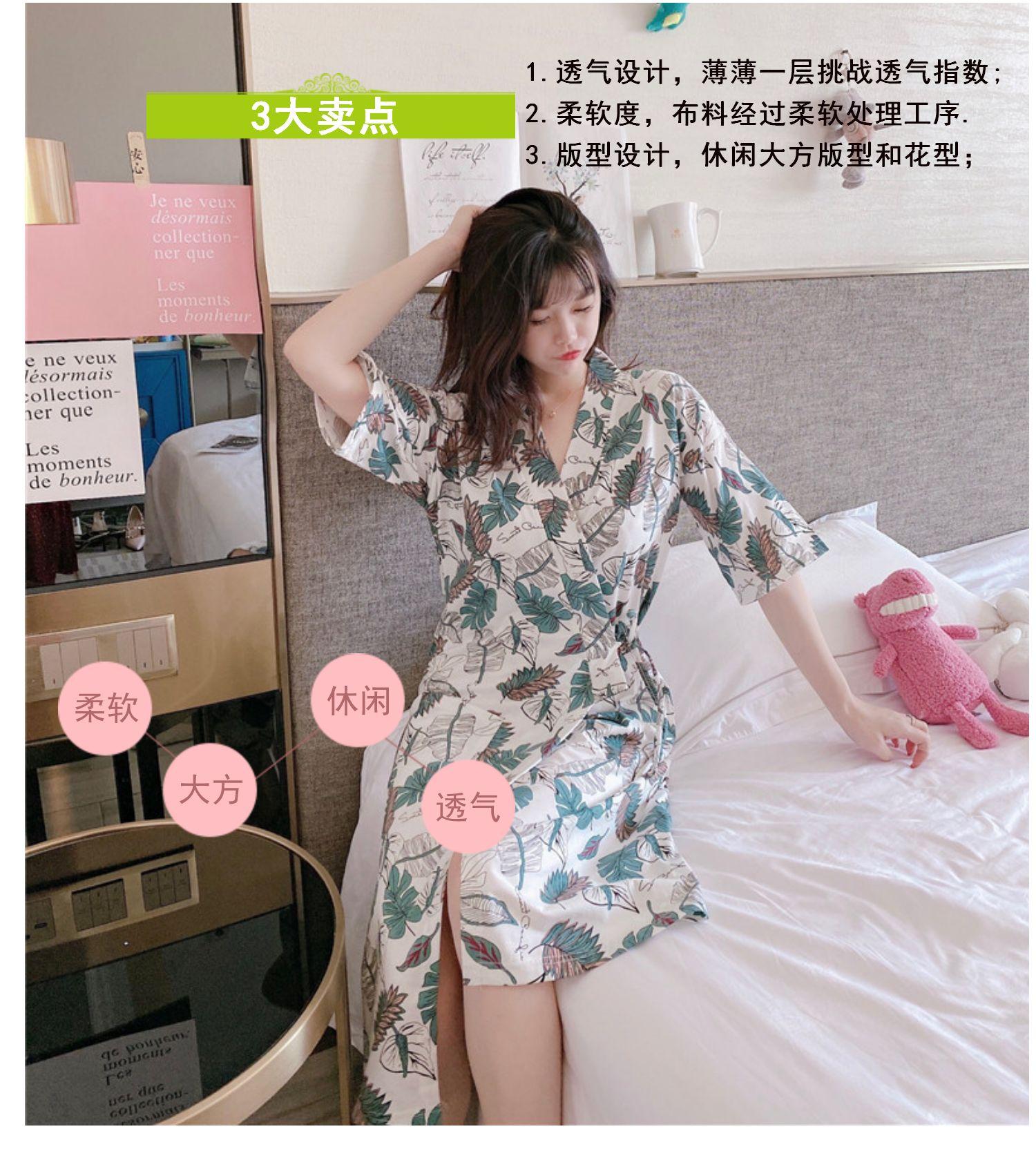 中國代購 中國批發-ibuy99 新款女短袖和服印花睡裙夏季中青年薄款睡袍夏天纯棉女士家居服
