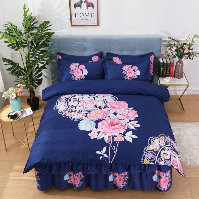 韩版床上用品纯棉床裙四件套1.5米大版花全棉网红床单被套1.8m