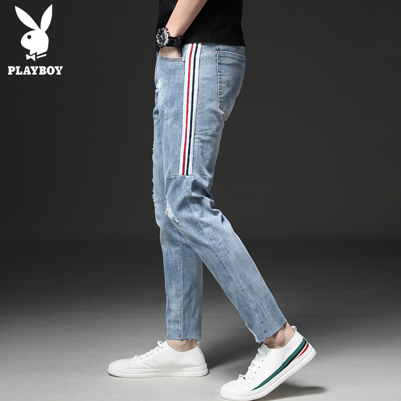 Playboy light-colored hole jeans men Tide brand Slim was thin 9 points feet pants Korean version of the wild