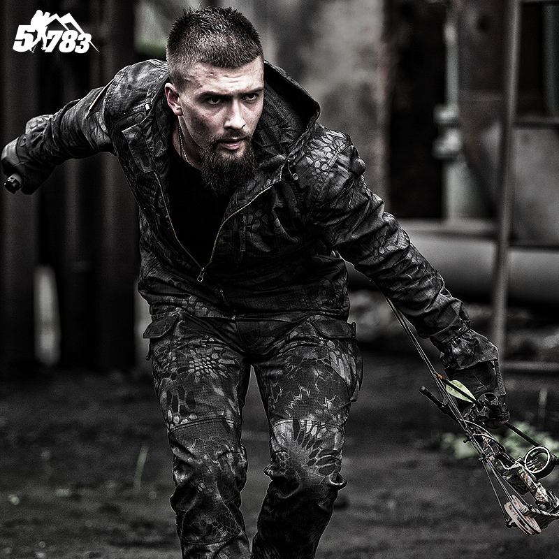 51783 Army fans outdoor python pattern camouflage suit male waterproof wear-resistant slim commando tactical training clothing