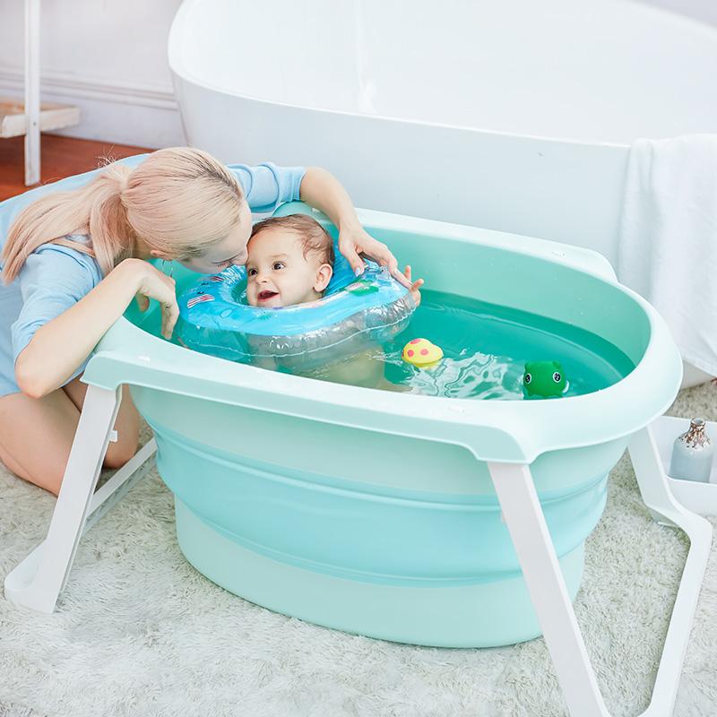 Large baby bath tub child can sit lie folded newborn child bath ...
