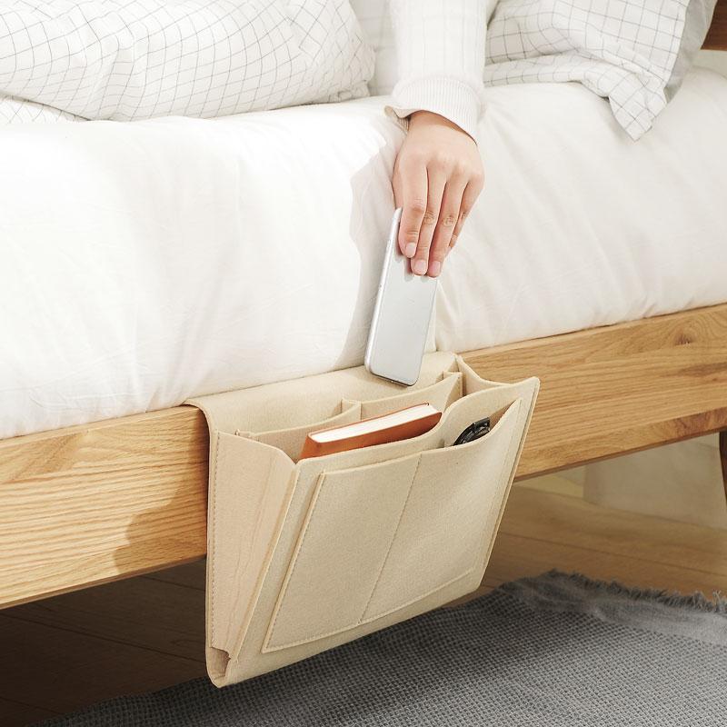 床边收纳袋挂袋 床头挂篮放手机神器 床上袋子小布袋墙挂式置物架