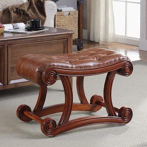 欧式真皮沙发凳脚凳客厅时尚懒人矮凳方凳茶几坐墩长凳美式换鞋凳