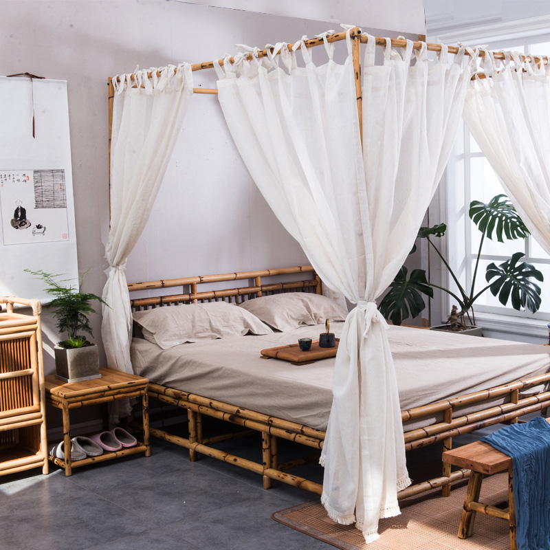 New Japanese Style Bamboo And Rattan Double Bed Green Bedroom Bu0026B Hotel Zen  Furniture Modern Minimalist Collapse