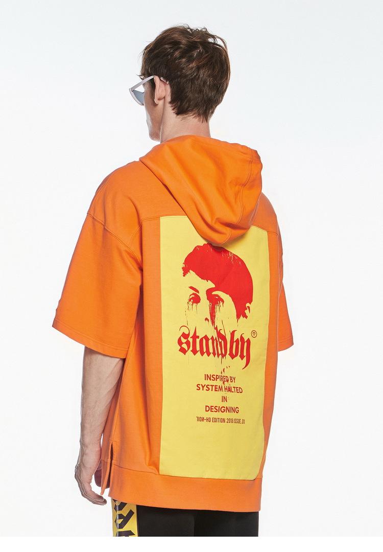 [INXX] ĐỨNG THEO Tide thương hiệu thời trang casual màu ngắn tay áo trùm đầu áo len chuyển XM82103787