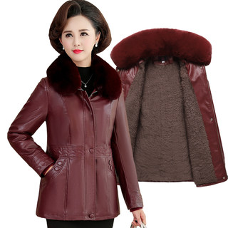 Middle-aged female leather short paragraph plus velvet thick winter coat 2020 new mother middle-aged cotton wallet kepi