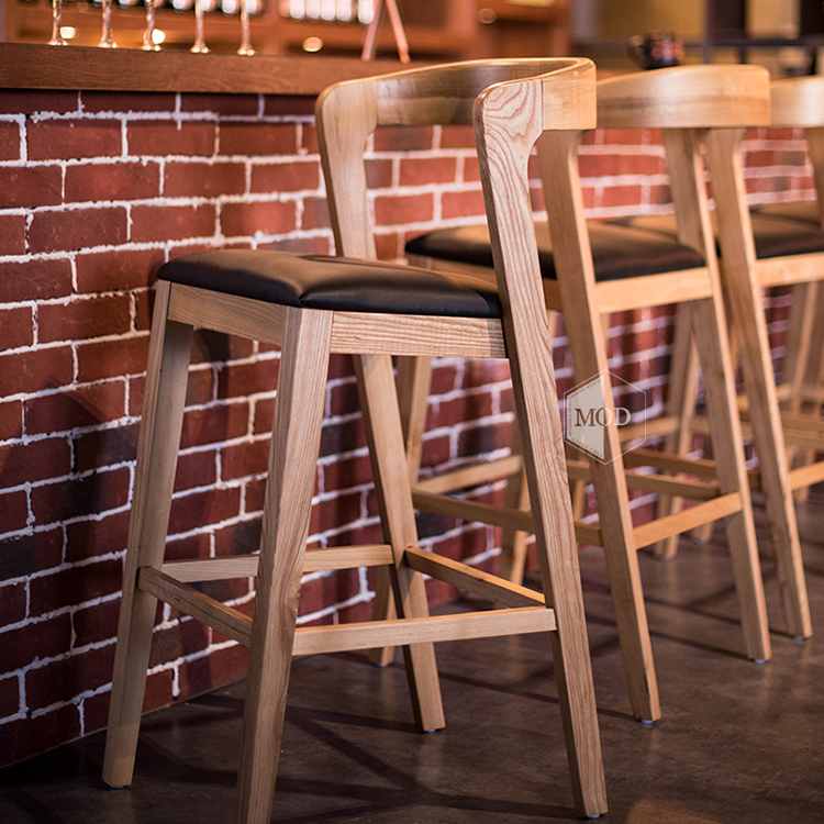 Nordic Solid Wood Bar Stools Simple Modern Home Bar Chair Creative Backrest High  Chair Cafe High Stool
