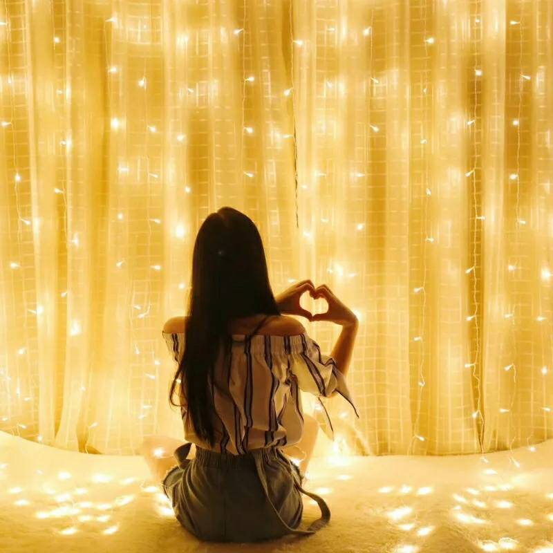 Window Recruitment Star Light Curtain Waterfall Net Red Small Room Renovation Decoration Creative Hanging Lamp Home Lantern Decoration