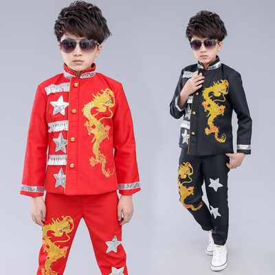Children Models Walking Show Dresses Chinese Dragon Frame Drum Stage Costume Jazz Dance Performance Costume Singer