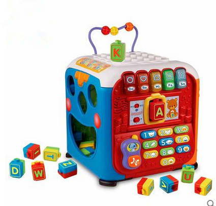 Vtech Vtech 135418 Learn Wisdom Cubic Wooden Blocks Multi Functional Game  Table Early Learning Puzzle Force Toys