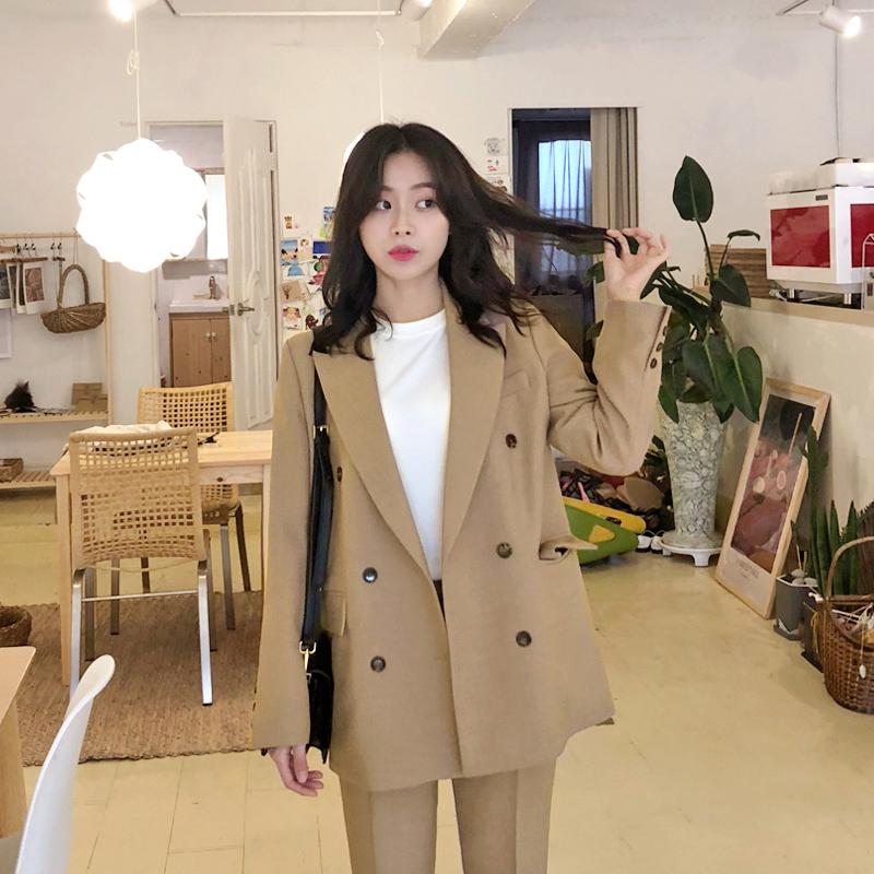 韩版2020春夏新款宽松v西装西装时尚女套装气质chic小西装职业装潮