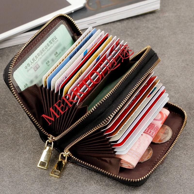 Giấy phép lái xe túi thẻ dung lượng lớn nhiều thẻ đôi dây kéo cơ quan phụ nữ ví tiền xu đa chức năng giấy phép lái xe nam - Ví / chủ thẻ