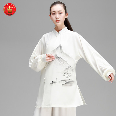 Hand-painted Tai Chi Clothes for Female Chinese Style Wushu Show Clothes for Tai Chi Boxing Show
