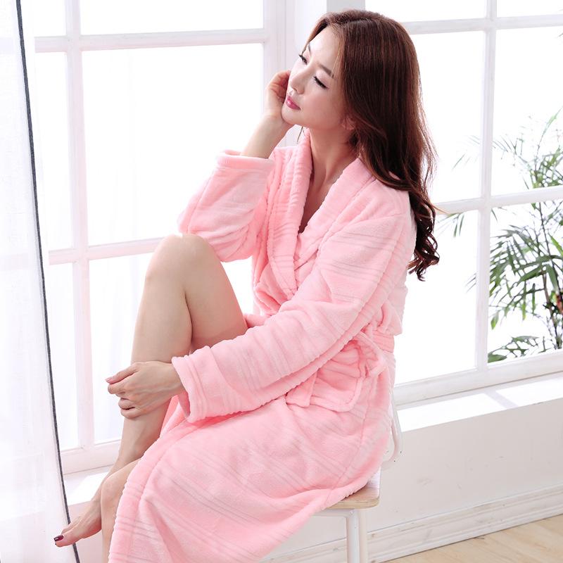 长款法兰绒美容院浴袍女睡袍睡裙浴衣珊瑚绒睡衣秋冬季睡衣腰系带