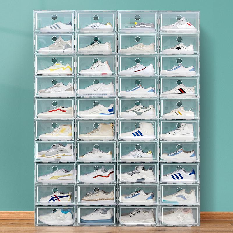 20个装加厚鞋盒收纳盒透明抽屉式鞋子神器省空间塑料鞋柜抽拉式