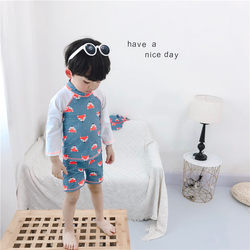 Korean children's swimsuit cute fox-shaped boy long-sleeved split swimsuit sunscreen surf suit swim trunks