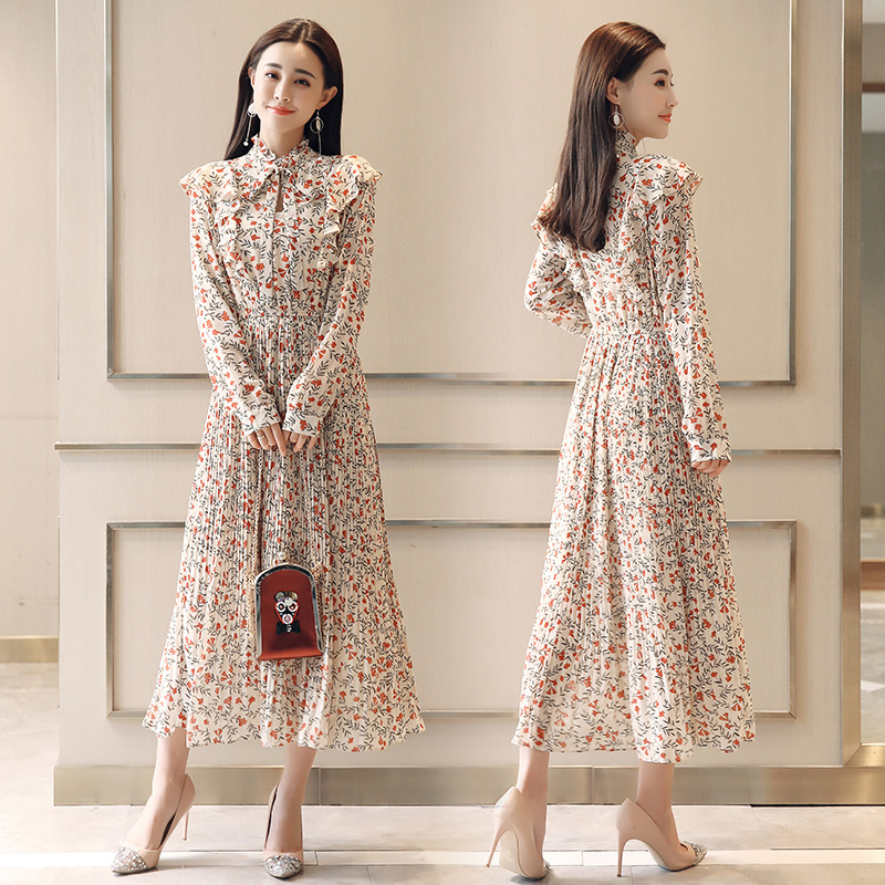 2018 New Spring Floral Chiffon Dress Korean Maxi And Put On Temperament Cover The Meat