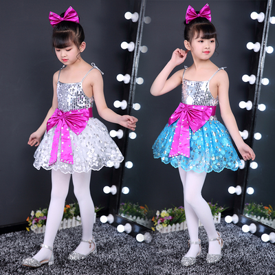 Jazz Dance Costume Girl sequins skirt Kindergarten dance costumes Jazz dance sling skirt