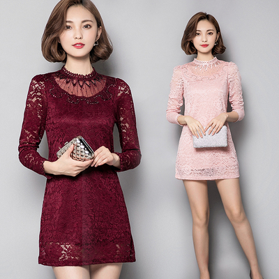 2017 autumn and winter new Korean women's hollow lace shirt Slim was thin temperament in the long skirt