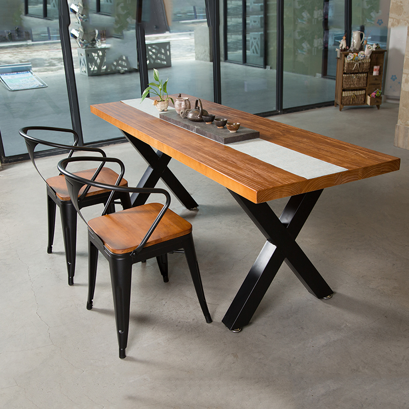 American Retro Dining Table Wrought Iron Solid Wood European Rectangular Cafe And Chair Combination