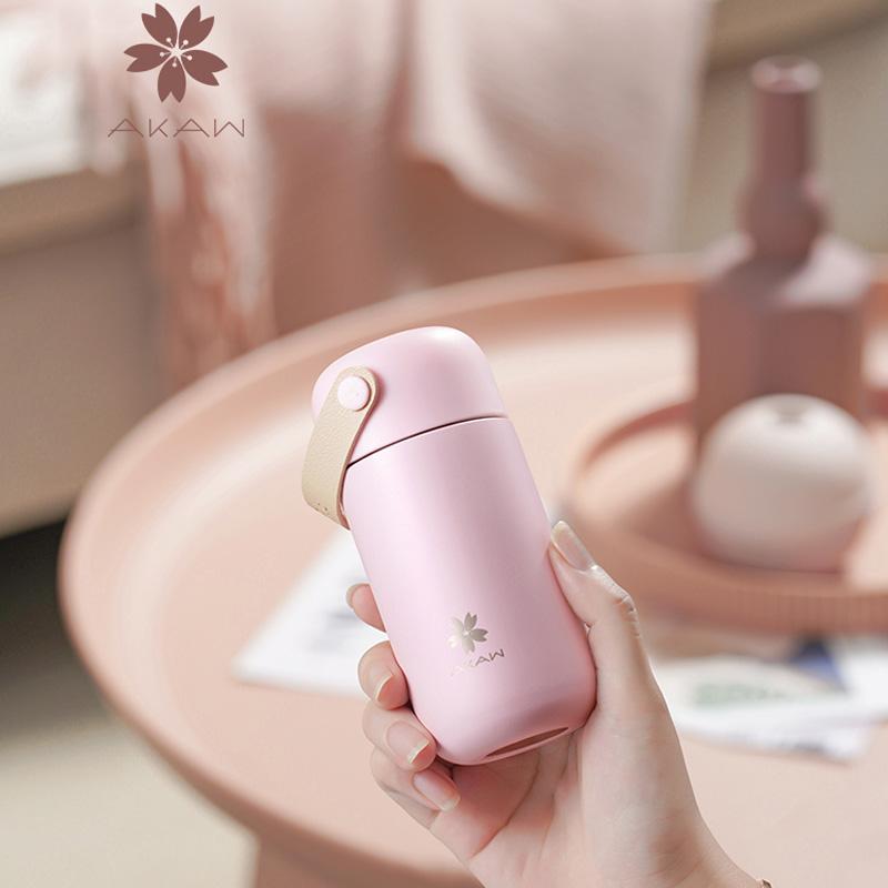 日本AKAW爱家屋迷你保温杯女智能便携小巧水杯可爱少女小型杯子
