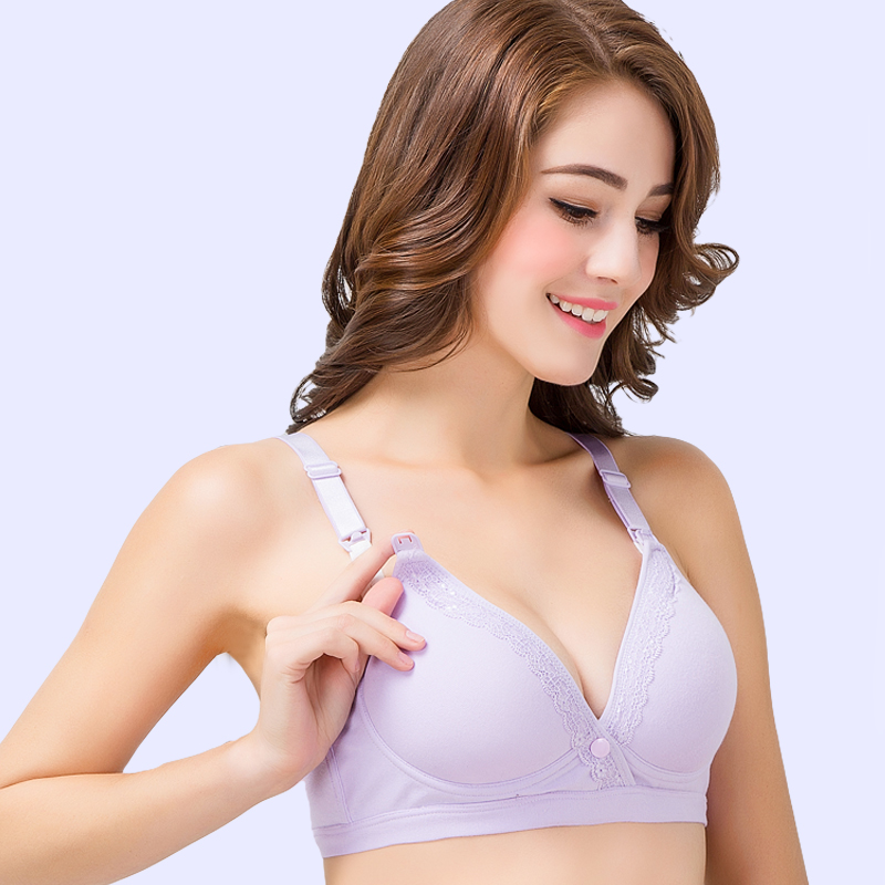 3d785d1a5 Breast-feeding bra gather anti-sagging no rims open button pregnancy  pregnant women underwear month feeding bra