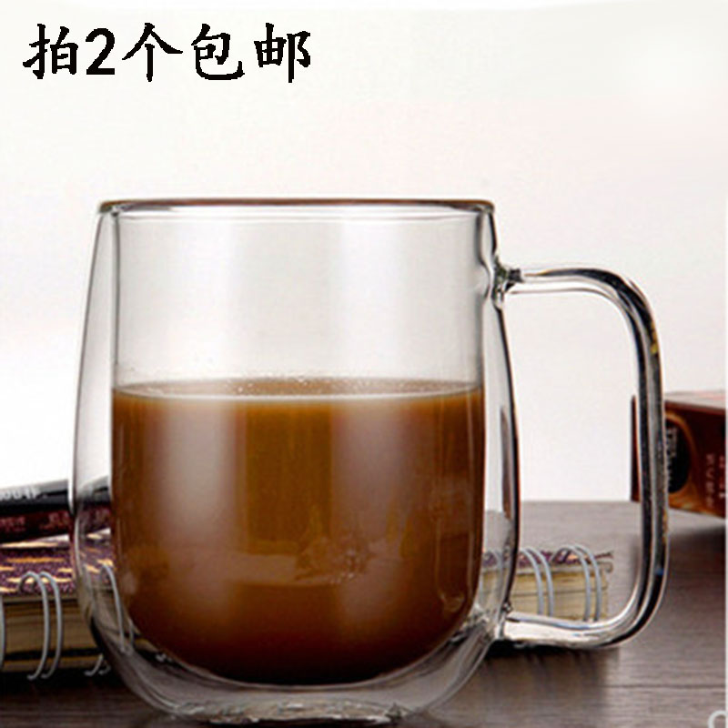 Hand-blown second class glass coffee cup double layer transparent heat insulation heat resistant water cup stock cup ultra-low price