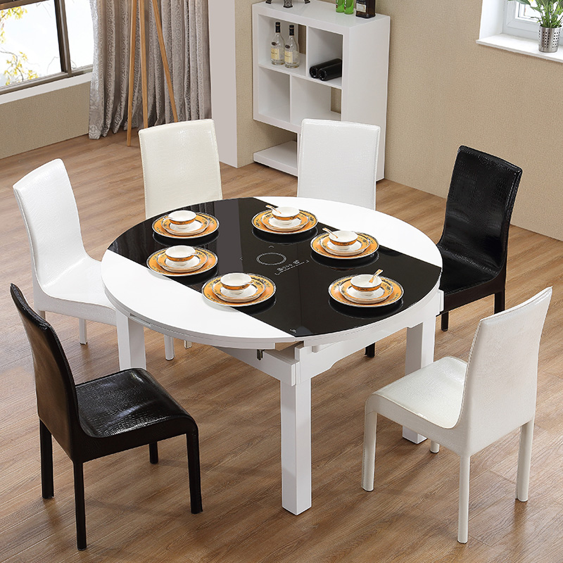 Induction Cooker Dining Tables And Chairs Combination Multifunctional  Square Table Round Tempered Glass Table Simple Modern