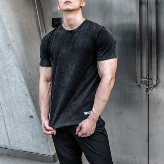 2019 summer muscle brothers Washing old solid color sports fitness round neck short-sleeved loose male set leisure T-shirt