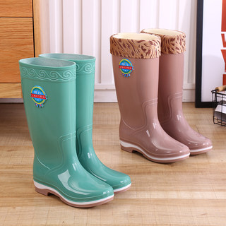 Rain boots high tube long tube rain boots ladies water boots water shoes Korean fashion plus velvet non-slip waterproof rubber shoes overshoes to keep warm