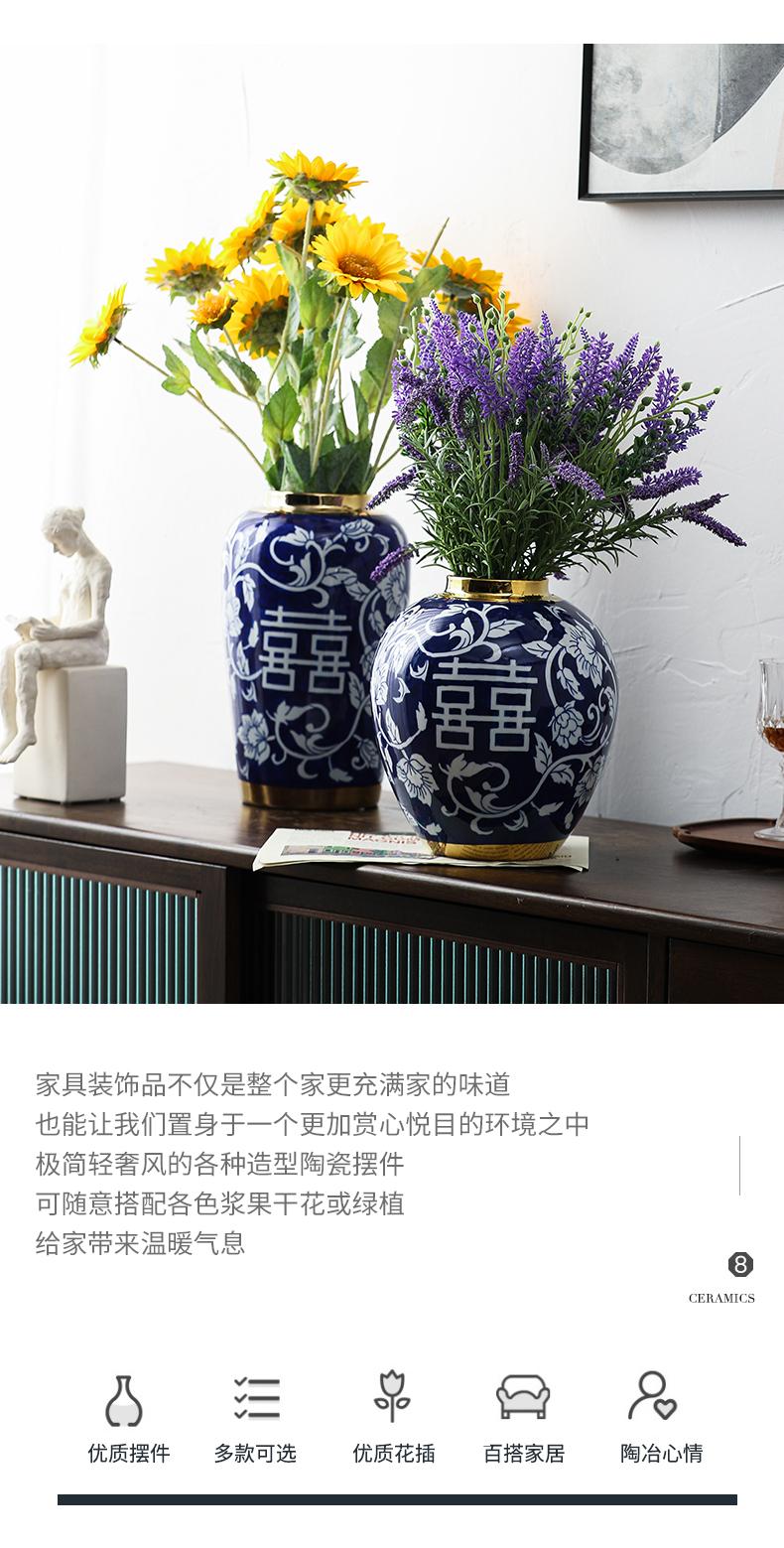 Blue happy character of Blue and white porcelain vase ceramic vases, home furnishing articles furnishing articles Chinese Blue and white porcelain ceramic vase