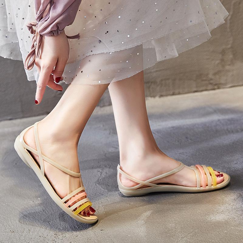 夏季软底沙滩塑料女海边凉鞋洞洞鞋防滑鱼嘴大码平跟水晶果冻鞋女