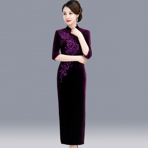 Chinese Dress Qipao for women Cheongsam middle-aged woman dress middle-aged autumn noble wedding -in-law wedding dress usually wear dress