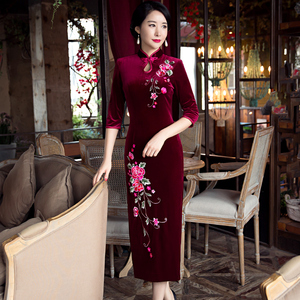 Chinese Dress Qipao for women Middle aged and old people Velvet cheongsam long wedding daughter dress wedding dress wedding dress