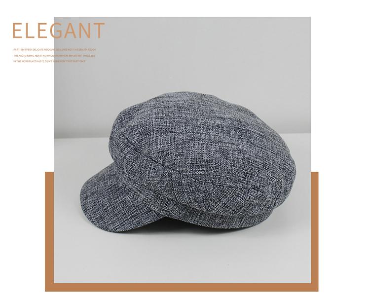 Hat female cotton hemp flat navy hat retro octagonal cap casual student beret NHHY172394